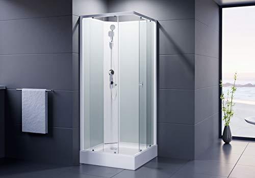 Duschmeister Komplettdusche Fertigdusche Astoria 80 cm, 195 cm hoch Duschkabine Eckdusche Eckeinstieg mit vier Wänden rundum geschlossen komplett Dusche