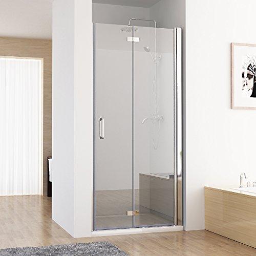 MIQU 75-120 x 195 cm Nischentür 2 TLG. Faltwand Aufsatz Duschwand Duschabtrennung (120cm)