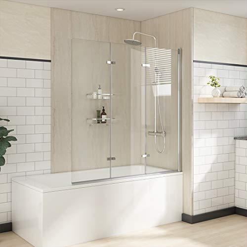 WELMAX Badewannen Duschwand 130 x 140 cm Badewannenaufsatz Faltwand Duschtrennwand Dreifalten Duschabtrennung aus 6mm Nano ESG Sicherheitsglas