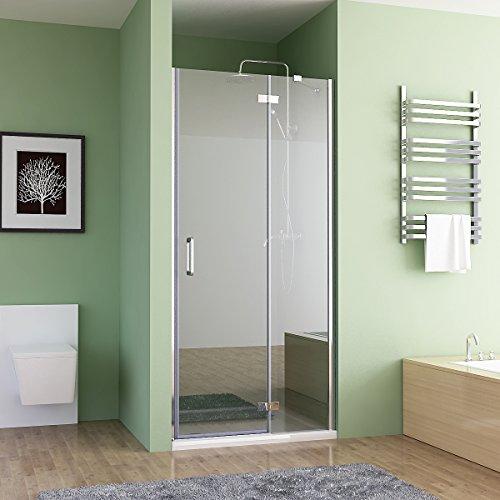 MIQU 80-100 x 195 cm Nischentür Duschabtrennung Falttür Duschwand Dusche Nano Glas (100cm)